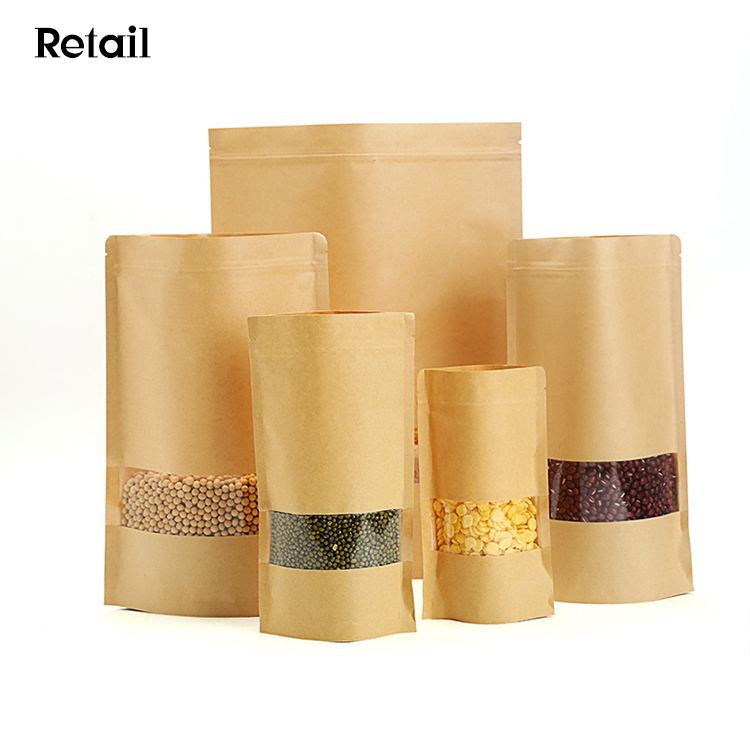 FREE SHIPPING 7.9'x11.8'+2' BPA Free Stand Up Kraft Paper Bags With Window For 1.5 KG <strong>Rice</strong> Pack