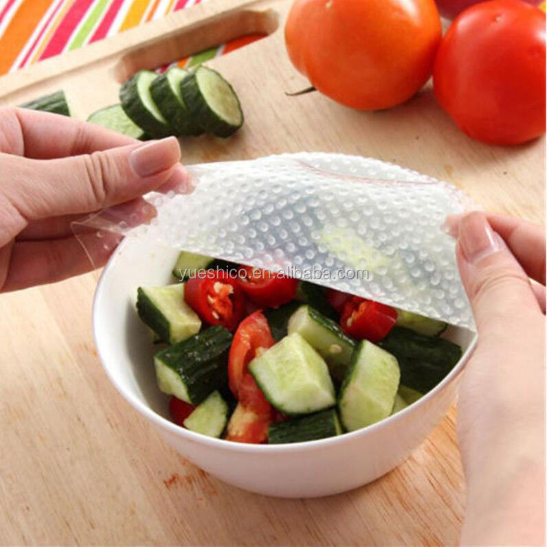Clear Reusable silicone Bowl Cover film Food Storage Wraps Seal Cover Stretch Multifunctional Food Fresh Keeping Saran Wrap