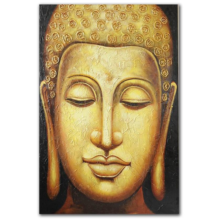Modern Office Decor Handmade Golden Buddha Face Oil Painting On ...
