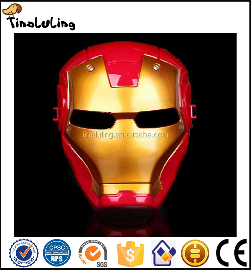2017 NEW coming halloween decorate Plastic Cheap Iron Man Face Mask With Light