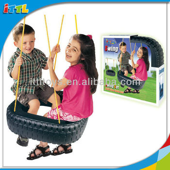 A376182 Children Double Swing Toys Tire Modelling Plastic Swing Set