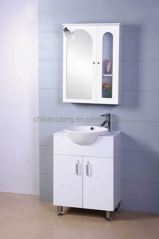 Simple Small PVC Foil Faced MDF Cheap Laundary Sink Vanity Cabinet Combo with Mirror