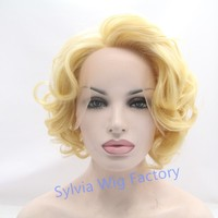 Fashionable Marilyn Monroe wigs white short wig synthetic lace front wig heat resistant Synthetic Hair in stock free shipping