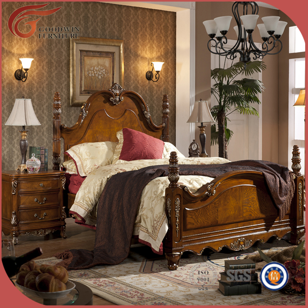 New arrival italian royal solid wood inlay king size - Set de chambre bois massif ...