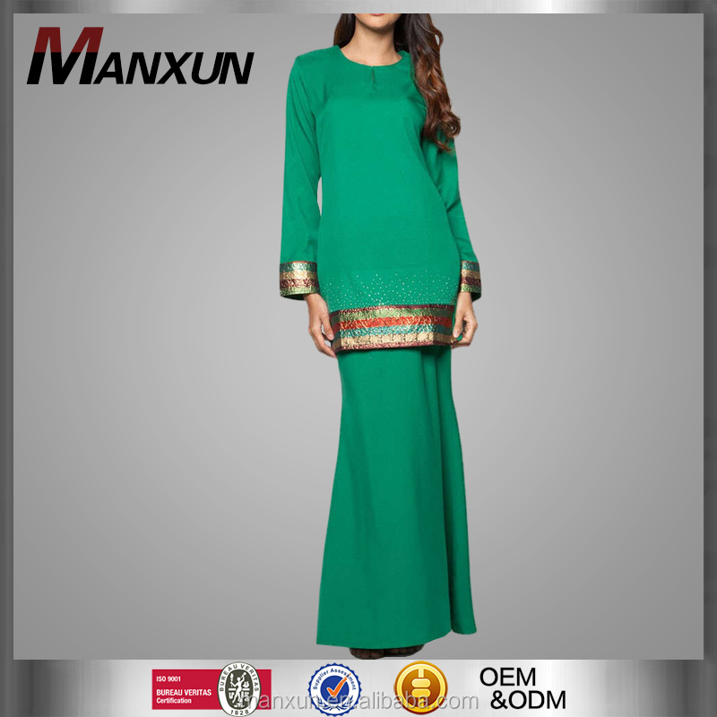 Fashion Baju Kurung Moden Design Malaysia Popular Type Clothing with Beading and Special Border