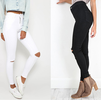 Street Popular Girl White or Black Strench Ripped Knee Skinny Jeans