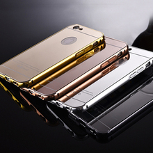 Best sales products metal bumper pc electroplating phone case mirror back cover cell phone case for iPhone 6