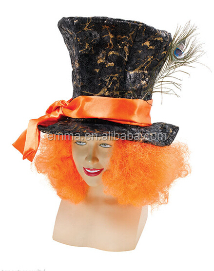 The mad hatter tea party hats alice in wonderland carnival fancy dress with orange hair hat HT2454