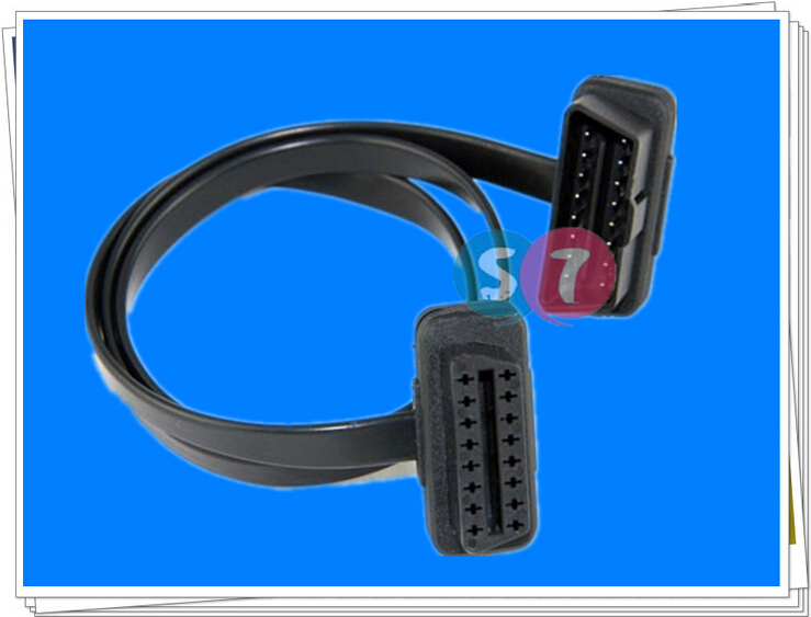 16Pin Male to Female OBD2 flat Cable, Diagnostic Extension Cable,0.6M OBD Cable