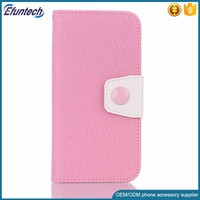 2016 New design lovely candy color PU leather flip cell phone case for iphone 7 cover