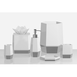 Wholesale white resin bathroom accessories set with modern design