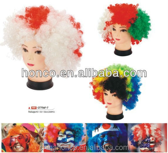 Football Fans Color Synthetic Wig