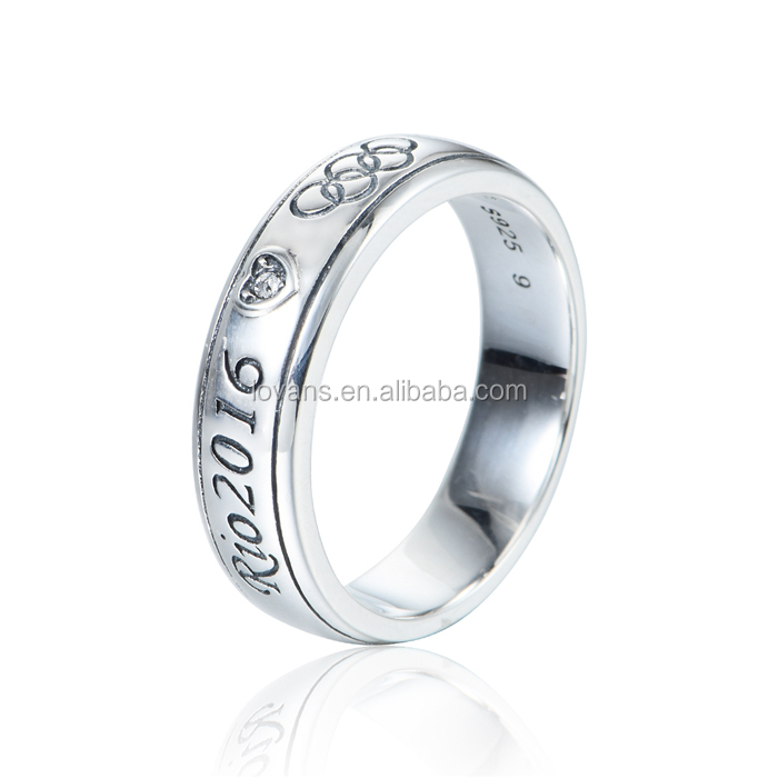 Sports Men's Silver Ring 2016 Brazil Olympic Design Photos Wholesale Jewelry T180
