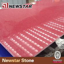 China factory sparkle red crystal quartz stone slab countertop
