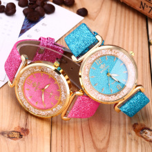 Hot Sell Gold Shell Diamond Dial Fashion Geneva Watch Women Stainless Steel Watch