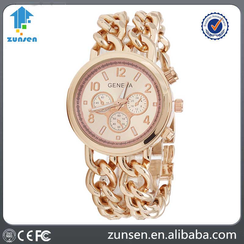 2016 Hot Selling Double Chain Gold Geneva Stainless Steel Watches Women Famous Brand Reloj Mujer Marca De Lujo Famosas Hodinky