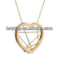 Fashion trend 2013 alloy necklace jewelry,heart hollow pendant with long skinny link chain necklace