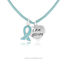 Letter I am Strong heart pendant and Teal Awareness Ribbon cord Necklace