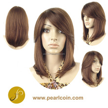 Affordable Brown Straight Side Swept Bangs Human Hair Wig