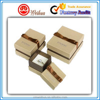 Wholesale Elegant small cardboard paper jewelry ring gift box with ribbon tied