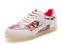 FJ001 women beatiful flower LED shoes skate casual shoes with single light color