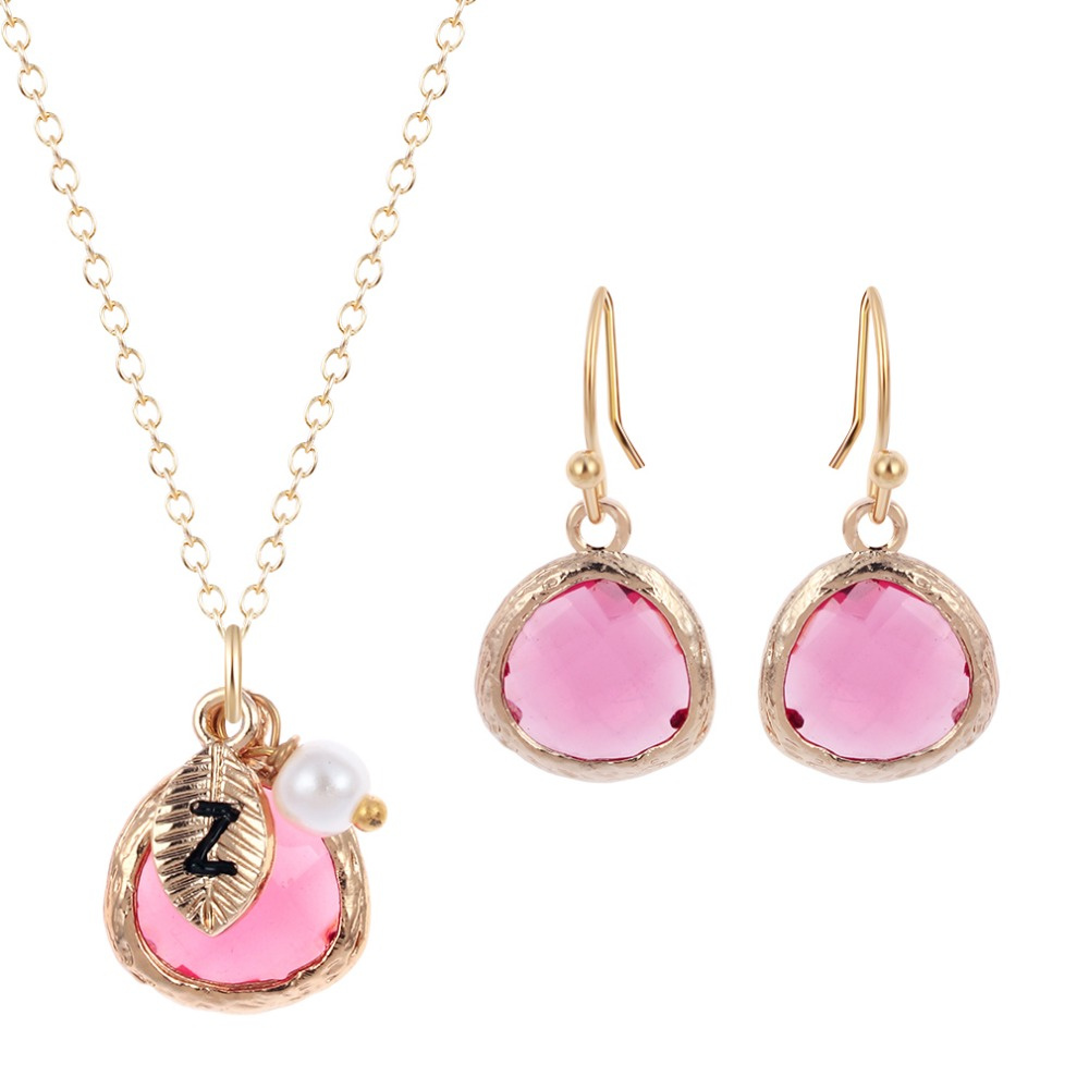 Jewelry Sets Boho Initials Pink Stone with Letter Pearl Pendants Necklace Earring Set for Women Girls Wedding Sweet Gift