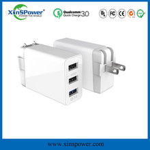 Xinspower Hot selling 3 port usbwall charger disposable mobile charger QC3.0 Qualcomm quick charge for Lenovo