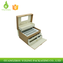 Wholesale display storage mirrored gift jewelry box,velet custom packaging luxury pu leather jewelry box
