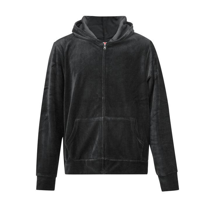 mens hooded pullover solid black customized label wholesale outdoor jogging tracksuit  /  Velour Tracksuit Mens