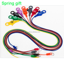 Plastic Spiral Bungee Cord Coil Keychain Ring lobster Phone Cord Style Spring Hook