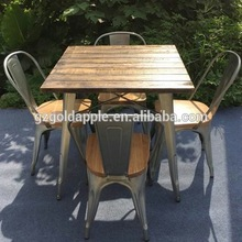 Outdoor Garden Restaurant Dining Tables Furniture Retro Wooden Square Coffee Dining Table And Chair Set