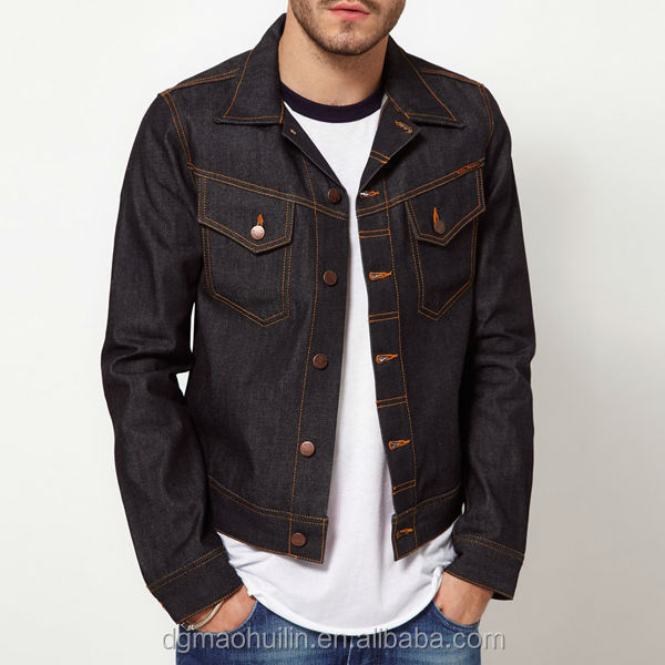 fashion indigo denim unwashed men jeans jacket