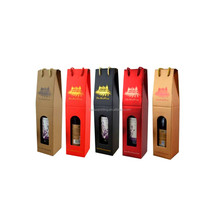 corrugated board handle design individual wine boxes packing with gold foil logo printed