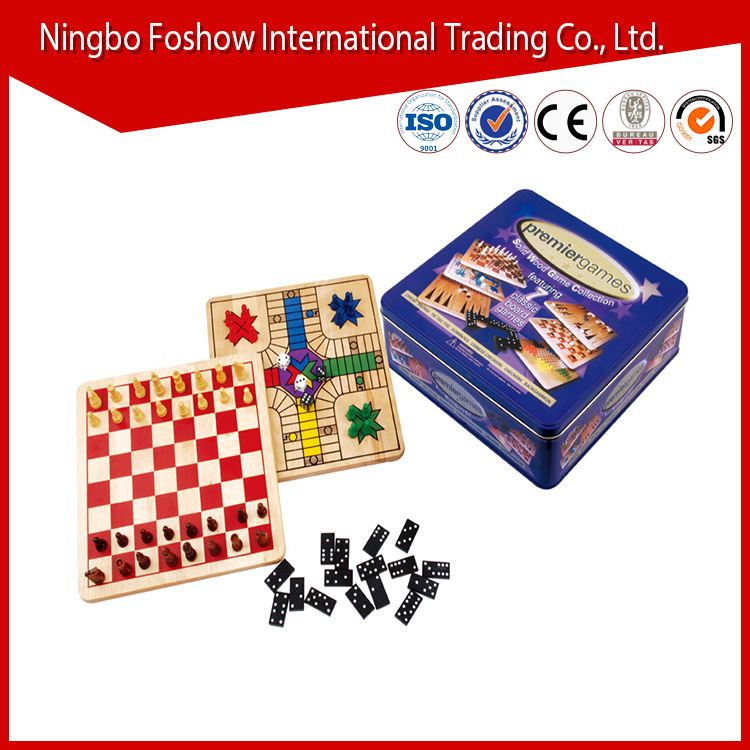 iron box classic solid wooden chess games