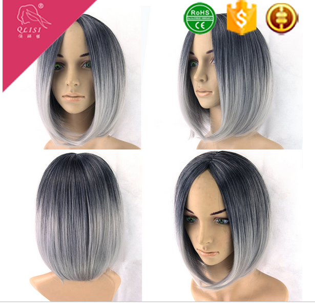Short straight wig grey color with middle part