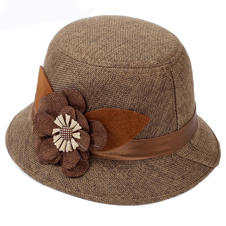 Ladies dress wholesale women flax cloche straw hats with flowers