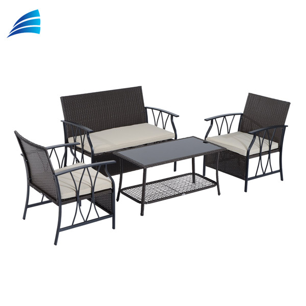 4 piece patio wicker antique good quality garden chair set