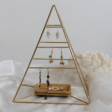 Pyramid gold tray jewelry rack ,retro earrings bracelet necklace watch display stand