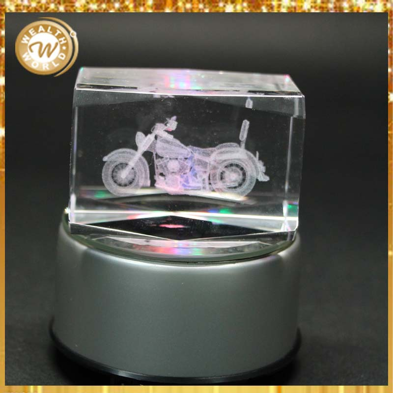 with 3D laser motorcycle crystal souvenirs