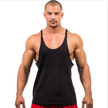 90% cotton solid color muscle stringer quick dry custom wholesale blank crop fitness gym men tank top gym