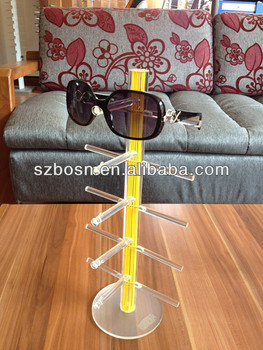 Yellow Crystal Rod Acrylic Eyeglasses Display Holder