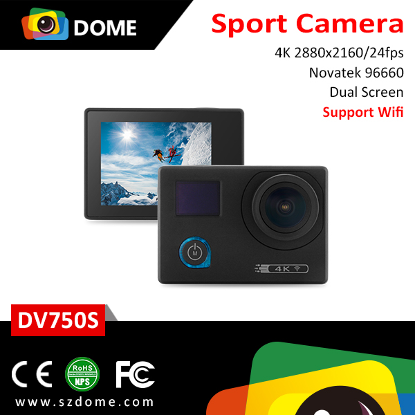 HK Fair hot selling Dual screens 4K Wi-Fi function IOS&Android sport camera