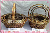 Handled Style and Woven,willow/rattan/wicker Material wicker pack basket