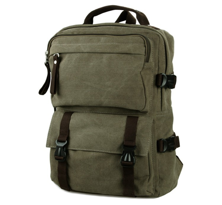 9018N Exquisite Workmenship Army Green Cross Body Bag Multifunctional Canvas School Backpack