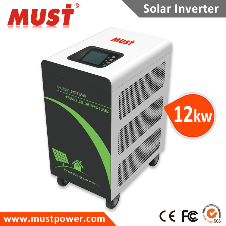 Hytbrid 3 phase solar inverter multiple operations grid tie off grid 9kw 12kw for industrial and home use