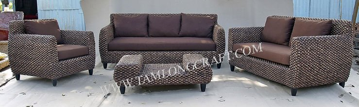 Furniture living room sofa, water haycinth furniture wooden frame rattan rimed