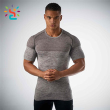 Cheap Gym Wear Cool Mens Red Seamless Muscle T shirt slim 3d knitted fit t-shirts for men