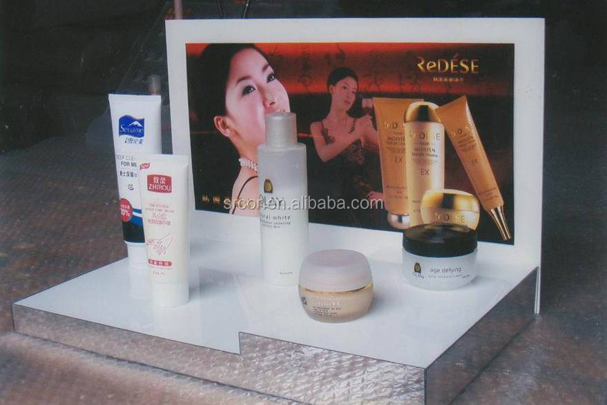 retail countertop acrylic display stand for cosmetics, cosmetic display stand,acrylic pos display