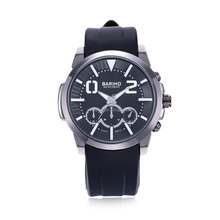 Casual Luxury Leather Men Wristwatches Watch with Rubber Strap and Alloy Case