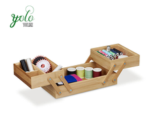 2 Tier Bamboo Desk Organizer Folding Wooden Sewing Box with 5 Compartments